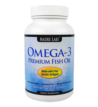 Madre Labs, Omega-3 Premium Fish Oil, No GMOs, No Gluten, 100 Fish Gelatin Softgels