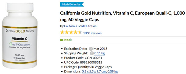 California Gold Nutrition, Vitamin C, European Quali-C